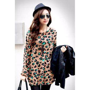 Harga LuvClo (Fit M~3XL) Korean Style Leopard Printed Long Sleeves Top (Khaki)