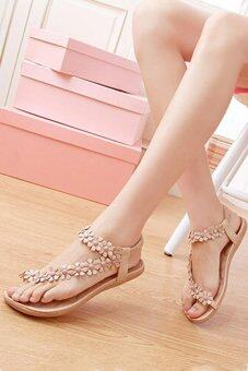 Harga Ai Home Hot Sales Summer Women Sandals Bohemia Flower Casual Toepost Flats Shoes Apricot