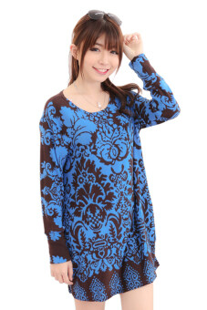 Harga LuvClo (Fit M~3XL) Vintage Royalty Printed Long Sleeves Premium Loose Top (Blue)