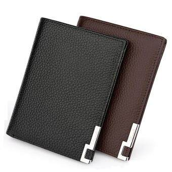 Harga 100% Genuine Soft Cow Leather Soft Bifold Casual Business Short Clutch Men Wallet(vertical)