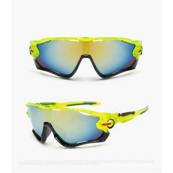 Harga UV400 Cycling Eyewear Bicycle Sports Glasses Protection Men Motorcycle Outdoor Sport Sunglasses Reflective Explosion-proof Goggles(Green)