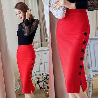 Harga High Quality Store New Women Midi Skirt Slim OL Open Slit Button Slim Pencil Skirt Elegant Ladies Dress S-Red