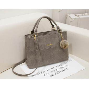 Harga NiCol Fashion Scrub Leather Handbag with Hair Ball Decoration (Grey)