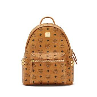 Harga Authentic MCM Women's Stark Side Stud Mini Baby Backpack Cognac Backpack Brown 2016SS