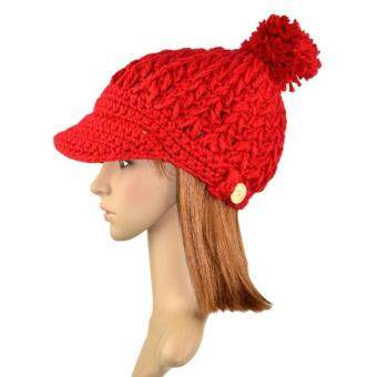 Harga C1S Wool Winter Hat Thick Line Hat Ball Cute Hat Warm Flight Hat Peaked Cap(Red)