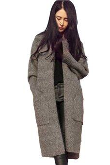 Harga V9125 Korean Fashion Long Cardigan Sweater- Grey
