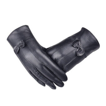 Harga Women Girl Luxurious Leather Winter Super Warm Gloves Cashmere Bow Black - Intl