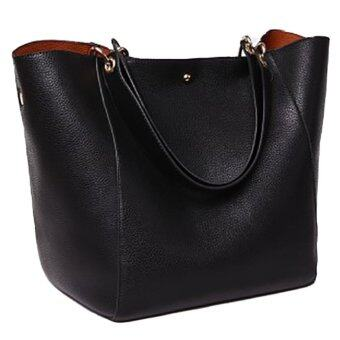 Harga Cow Leather Shopper Bag (Black)
