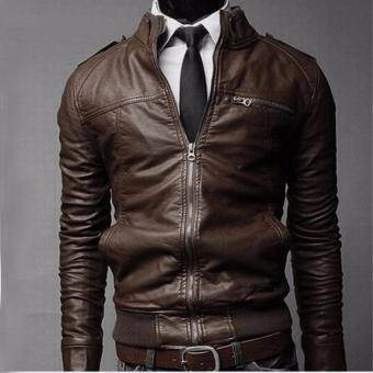 Harga Korean Men's Motorcycle Leather Leather Jacket Men's Leather Jacket for Men Dark Brown