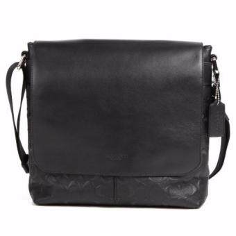 Harga Coach 72220-blk signature crossgrain leather charles small messenger