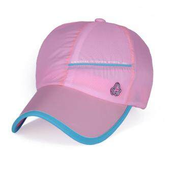 Harga Spring and summer new outdoor sports hat anti-UV speed dry hat male ladies couple baseball cap(Pink)