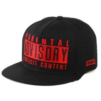 Harga ADVISORY tide men and women street dance level along hip hop hat baseball cap(Black red)