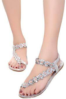 Harga LALANG Hot Sales Summer Women Sandals Bohemia Flower Casual Toepost Flats Shoes Silver