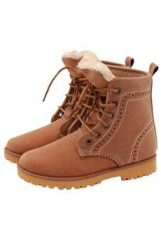 Harga LALANG Women Men Warm Winter Martin Boots Lovers Shoes Khaki
