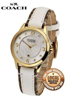Harga Coach Women's White Leather Strap Watch 14501423
