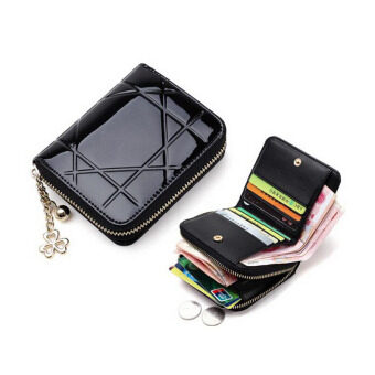 Harga 2016 Fashion Patent Leather Women Zipper Wallets Female's Small Short Clutch Purses Mini Wallet Girl's Card Holder Money Bag
