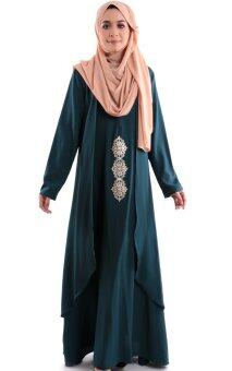 Harga JF Fashion Merissa Jubah with Gold Heat Press Patch E381 (Emerald-Green)
