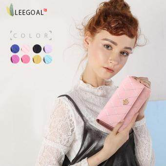 Harga leegoal New Style Women Lady Leather Clutch Wallet Long PU Card Holder Purse Long Wallet ( Pink )