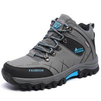 Harga Fashion waterproof men hiking shoes trekking boots outdoor hunting breathable climbing high top sneakers plus large size 45 46 47