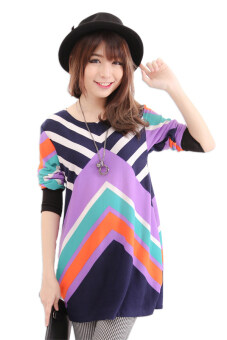Harga LuvClo (Fit M~3XL) Tribal Printed Long Sleeves Premium Loose Top (Purple)