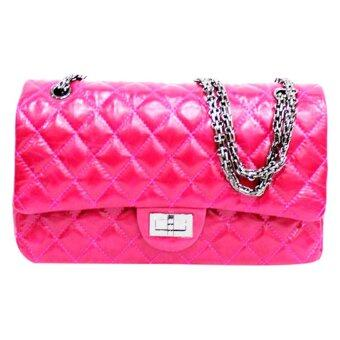 Harga Alice Ardent Aurora Cow Leather Quilted Design Shoulder Bag With Chain Strap Pink