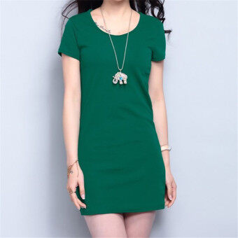 Harga Korean Fashion Summer Solid Color Short Sleeve Mini Dress HDS056 Dark Green - Intl