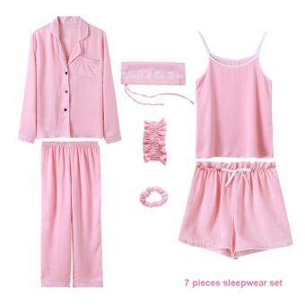 Harga Loveu Classic Lady 7 Pieces Sleepwear Set Fashion Women Lingerie Sleep Loungewear Soft Home Wear Best Valentine Lover Gift Birthday Gift Sexy Lingeries for Girl Lady Women - Pink