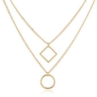 Harga Foreign trade new necklace fashion simple geometric element square circle double layer accessories necklace