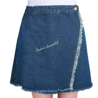 Harga New Fashion Women Summer Slit Hem Burr High Wasit Jeans Skirt Lady A-line Slim Skirt Blue