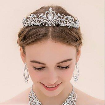 Harga HengSong New Elegant Luxurious Crown Wedding Bride Crystal Headband Hair Band Accessories#1
