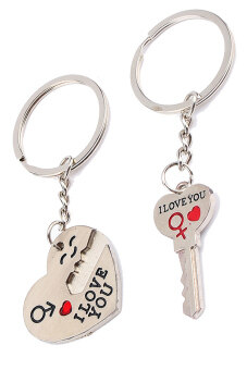 Harga I love you' Words Couple Keychain Keyring Keyfob Heart Key Valentine's Day Lover Gift