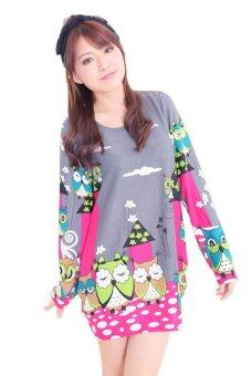 Harga LuvClo (M~3XL) Cute Owl Cartoon Printed Long Sleeves Premium Loose Top (Grey)