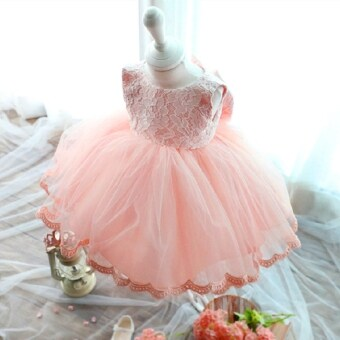 Harga Stylish Jewel Collar Sleeveless Solid Color Big Bowknot Gauze Girls Princess Dress