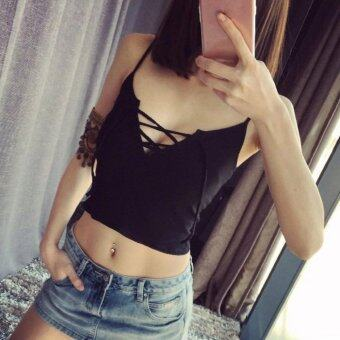 Harga Women Crop Top Slip Summer Solid Spaghetti Strap Sleeveless Lace-Up Sexy Slim Tank(Black)