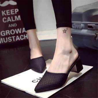 Harga Hot Sale!!! Sexy Shoes Women Summer Fashion Pointed High Heel Sandals Women Slippers Ladies Shoes Size 35-40 Black