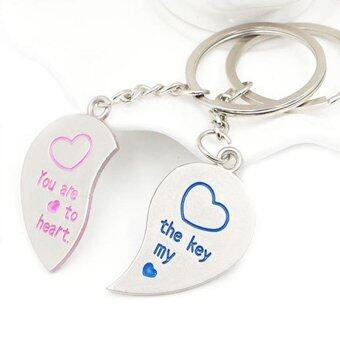 Harga A Pair of Love Heart Couples Lover Partner Keyring Keychain Key Fob