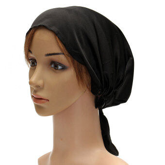 Harga Women Silk Satin Cap Sleep Hat Bonnet Hair Wrap For Long Hair Care New Black