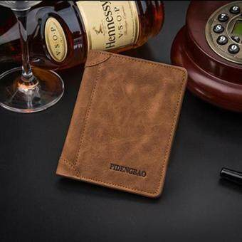 Harga Men's Retro S-wallet Fashionable Soft Leather Money Clips Portable Card Holders Vertical Wallet (Coffee)