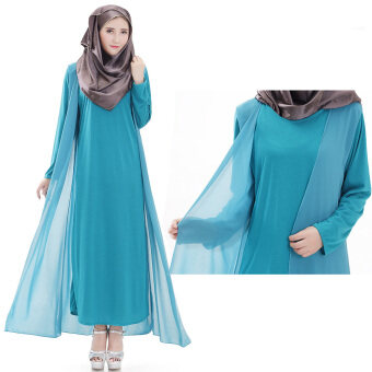 Harga Women Comfortable Muslimah Robes Muslimah Dresses Long-sleeved Cotton Gown Jubah Sky Blue