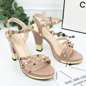 Harga LCFU764 Summer Women Sandals Fashion Thick High Heels Party Shoes Strap Rome Style Ladies Sexy Rivet Beach Shoes - pink