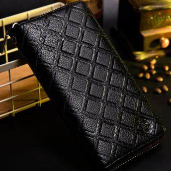 Harga Fashion Men's Wallet Multifunctional Long Wallet Hand Strap Zip Closures Great Capacity PU Leather Creative Hand Bag - Black