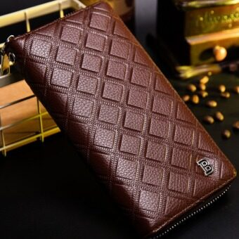 Harga Baborry Men's Wallet Multifunctional Fashion Long Wallet Hand Creative Hand Bag Strap Zip Closures Great Capacity PU Leather - Coffee