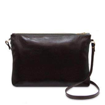 Harga Latinas Genuine Leather Casual Sling Bag (Dark Brown)