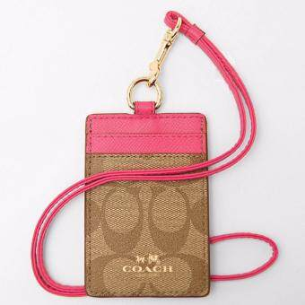Harga Coach F63274 Signature Light Brown Pink Lanyard