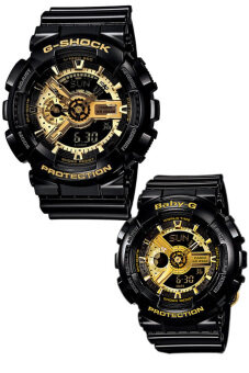 Harga Casio G-Shock and Baby-G Couple Black Resin Strap Watches GA-110GB-1A & BA-110-1A