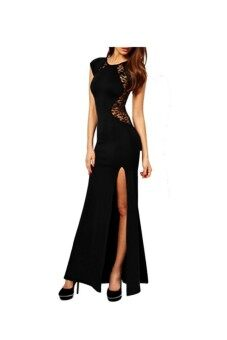 Harga Women Lace & Knitting Patchwork Solid Slim Slit Open Long Dress Black