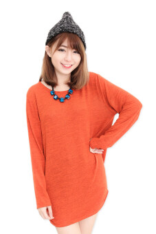 Harga LuvClo (Fit M~3XL) Plain Color Easy Matching Long Sleeves Top (Rust Orange)