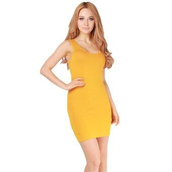 Harga HengSong One Size Lady Modal Skirts Bodycon Bottoming Dress Yellow