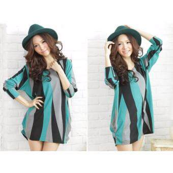 Harga LuvClo (Fit M~3XL) Colorful Ripple Printed Long Sleeves Premium Loose Top (Green)