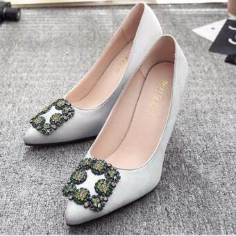 Harga Leyi Ms fine with low for shallow mouth diamond satin heels Silver